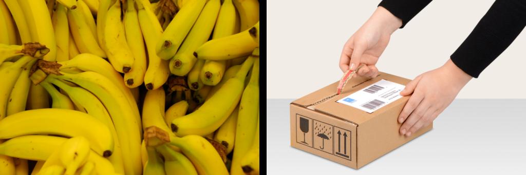 Bananen haben eine natürliche Aufreißhilfe