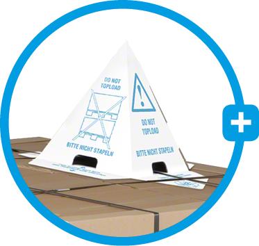 Mit einer Stapelschutz-Pyramide Ladungen sichern