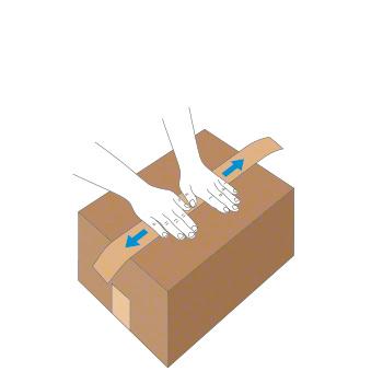 Verschluss mit Nassklebeband bei kleinem Karton - Schritt 2