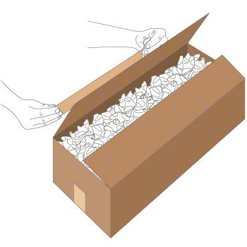 Verschluss mit Nassklebeband bei länglichem Karton - Schritt 1