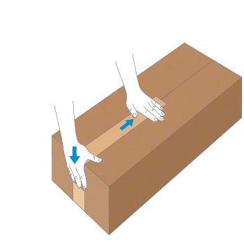 Verschluss mit Nassklebeband bei länglichem Karton - Schritt 2