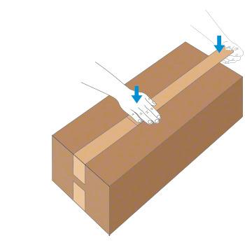 Verschluss mit Nassklebeband bei länglichem Karton - Schritt 3