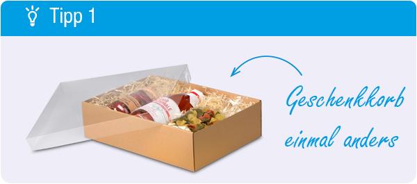 Tipp Geschenkkorb packen: Es muss kein Korb sein
