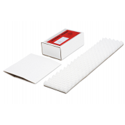 SOFT-PAC étui-fourreau en carton blanc avec calage en mousse intégré