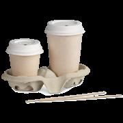 Couvercle en bagasse pour gobelets de boissons chaudes