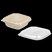 Couvercle en rPET pour bol en bagasse rectangulaire