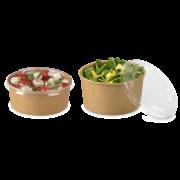 Couvercle en rPET pour bol à salad en carton marron rond