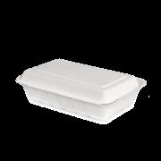 Boîte de menu en bagasse avec couvercle
