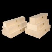 Cassette en bois avec couvercle à charnière