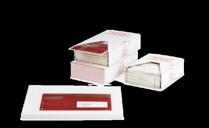 MECOUVERT® Pochette adhésive porte-documents dans un carton distributeur
