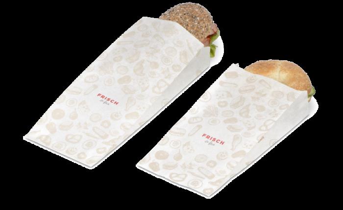 Sachet en papier à soufflets «FRISCH & fein» Take-away
