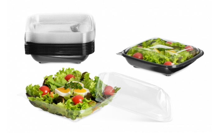 Plat à salade en PET rectangulaire avec couvercle