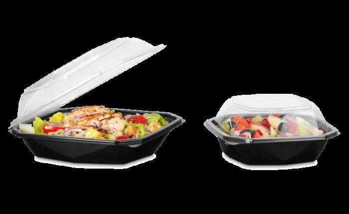 Plat à salade en PET Octaview avec couvercle