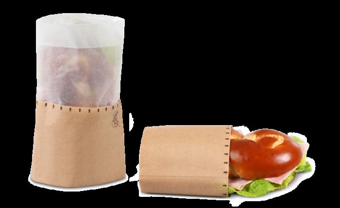 Snack-Bag brun avec fenêtre en papier cristal